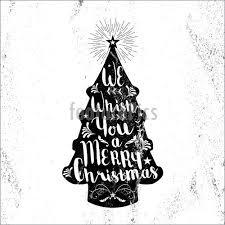 Merry Christmas Hipster Vintage Xmas Black Tree