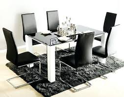 Six Chair Dining Table Room Furniture Black Glass Top For 6 With White
