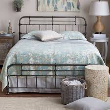 queen metal iron bed frame spindle headboard footboard gunmetal