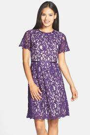 adrianna papell silk combo scalloped lace dress nordstrom rack