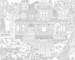 Adult Coloring Page Pages Digital Download Haunted Victorian House By