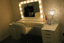 white ikea makeup vanity table for bedroom with lighted mirror and