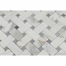 Marble Mosaics Calacatta Gold Polished Basketweave Mosaic Tile W Blue Gray