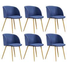 vidaxl esszimmerstühle 6 stk blau stoff gitoparts