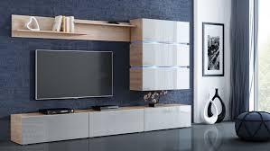 wohnwand sigma weiß hochglanz sonoma eiche mediawand medienwand design modern led beleuchtung mdf hochglanz hängewand hängeschrank tv wand