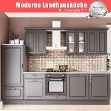 moderne küche linnea küchenblock küchenzeile 3m einbauküche grau