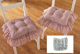 Amazon Com Plaid Ruffled Kitchen Chair Cushions Set Of 2 Blue Rh Country Style Seat Covers With Ruffles