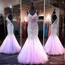 2017 lilac mermaid style prom dresses bling bling beaded crystal