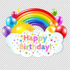 Happy Birthday Banner Banner With Rainbow Isolated Isolated on Transparent Background With Gra nt Mesh