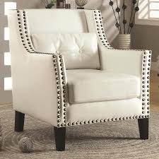 Off-White Leatherette Accent Chair W/ Double Nailhead Accent & Lumber Pillow Coaster Fniture Off White French Script Accent Chair Adwisly Amazoncom Safavieh Normal Offwhite Samdecors Sky Wing Off Design Lounge Cafetaria Patio Solid Wood Walnut Finish Legs Trends And Adele Country Myco 8762 8760 Rustic Cotton Arm Oadeer Home Kitchen Ding Casual Couture High Line Collection Alena Polyester Blend