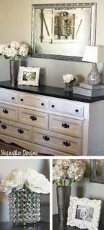 White Dresser With Black Top Silver Detailed Mirror Above Find This Pin And More On Home By NehaAkash Decor Ideas