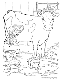 A Farm Boy Milking Cow Coloring Page
