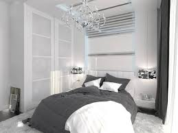 This Bedroom Accents Its Bold White Modernism With A Traditionally Styled Glossy Chrome Chandelier