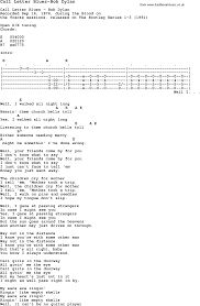 Blues Guitar lesson for Call Letter Blues Bob Dylan with Chords