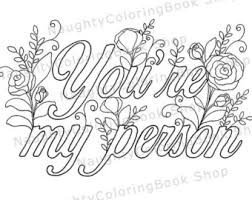 Youre My Person Best Friend Printable Gift Coloring Page Adult