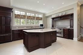 Dark Kitchen Cabinets With Light Tile Floors Island Glass Doors