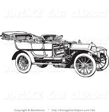 Clipart Of A Retro Black And White Vintage Convertible Car Facing Right