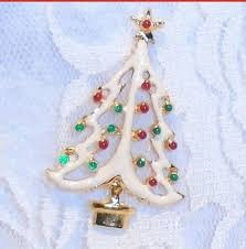 Christmas Tree Brooch SALE Vintage Enameled Pin White