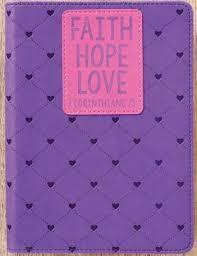 Faith Hope Love Journal LuxLeather Purple