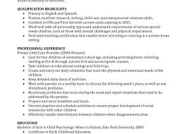Resume Examples Best Full Time Nanny Example