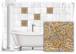 fliesen aufkleber fliesen bild blumen blätter nostalgie floral bunt gold bad wc deko