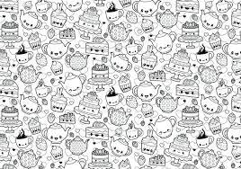 Kawaii Coloring Pages A Cute And Page Featuring Fabulous Tea Party Download Unicorn