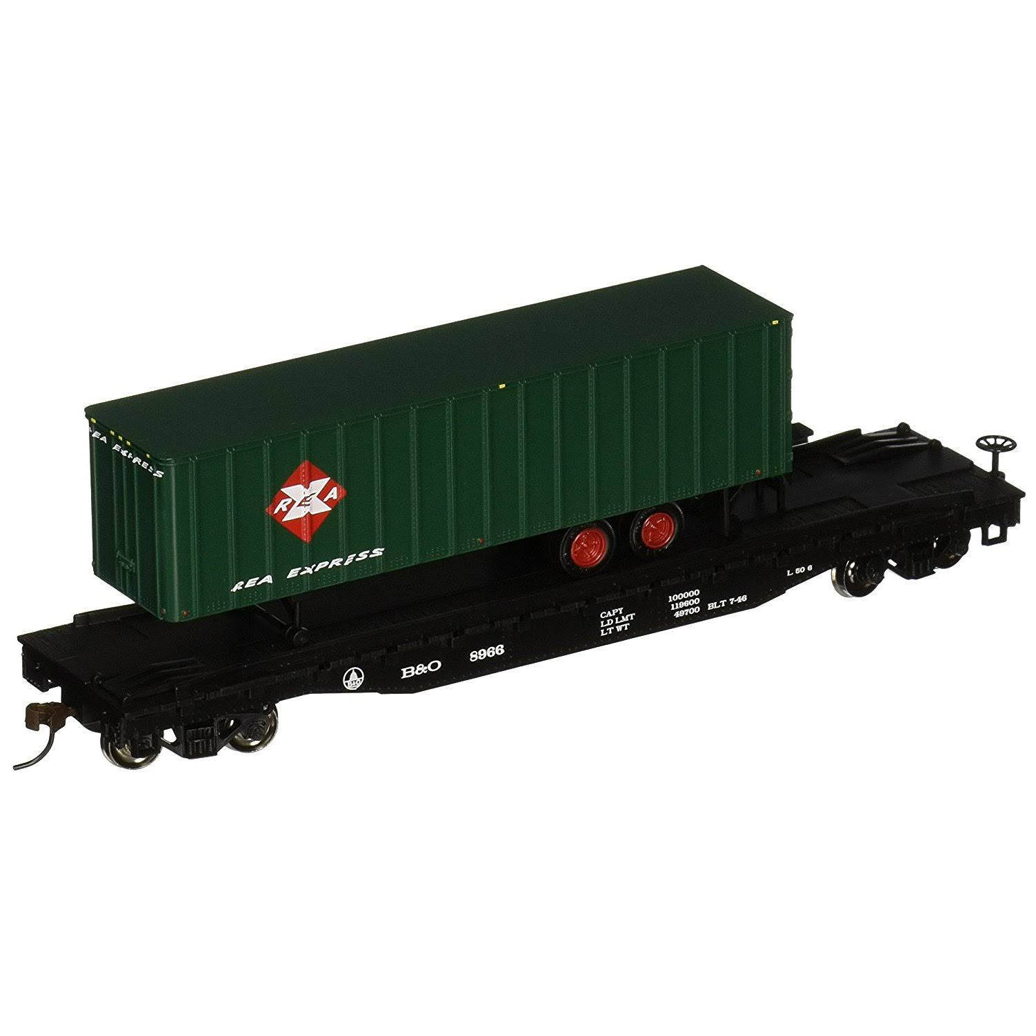 Bachmann 16702 HO Scale Train Flat Car Miniature - with Piggyback Trailer B and O Railway Express Flat