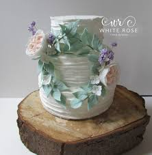 Floral Wreath Rustic Finish Wedding Cake By White Rose Design Cakes In West