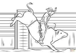 Click The Cowboy Riding A Bull Coloring Pages