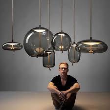 moderne led anhänger lichter nordic designer hanf seil glas