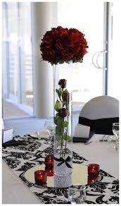 Black White Wedding Table Red Roses