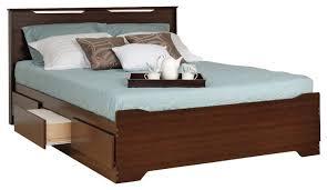 Prepac Coal Harbor Queen Platform Storage Bed with Headboard in