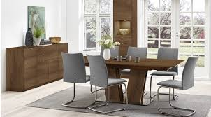 V Shaped Table Base From Solid Wood With Hidden Extension Leaf Contemporary Dining Chair Coordinating Pieces Available In Other Fabrics Leathers And