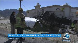 VIDEO: Semi-truck Loses Control, Crashes Into Gas Station In Cajon ... Images Truck Crashes Into Jacksonville Beach Lawyers Office Wjaxtv Fire Truck Through Cable Barrier After Tire Blows Out Kforcom Dump Rock Beside Trscanada Highway In Langford Driver Inattention At Root Of 3 Deadly Transport Opp Injured Box Kfc Pinellas Park Falls Garage Tree Line On Rice Street News Deldot Plow Newark 6abccom Massive Crash Youtube Chicken Spilling Foul Onto Alabama Highway Telegraph Road Business Nation And World Pickup House Mesa