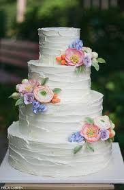A Rustic Buttercream Wedding Cake Featuring Soft Pastel Sugar Flowers Creating Romantic Full Of Charm Created By Erica OBrien Design