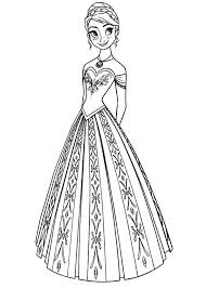 Queen Elsa Sister Princess Anna In Beautiful Dress Coloring Pages