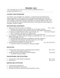 Patient Care Technician Cover Letter No Experience Resume Sample
