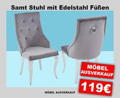 designer edelstahl stuhl grau esszimmer stühle mit griff und samt