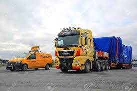 100 Truck Stop Loads FORSSA FINLAND OCTOBER 13 2017 Yellow MAN TGX 41640 Semi