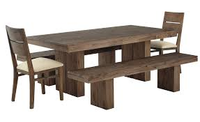 Awesome Rustic Rectangle Dark Brown Wooden Dining Table Set With Unfinished Bench As Natural Room Furniture Inspirations