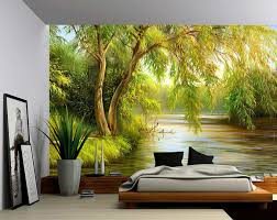 tree river bank summer landscape large wall mural self adhesive
