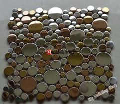 3D Metal Mosaic Silver Metal Tiles Backsplash SMMT098 Gold