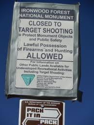 tucson visitors bureau recreational target shooting prohibited at ironwood forest national