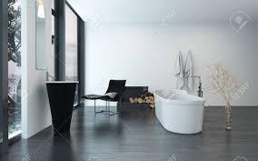 modernen zeitgenössischen luxus badezimmer interieur mit freistehender badewanne schwarzen sessel und kamin 3d rendering