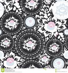 Vintage Shabby Chic Seamless Ornament Pattern With Pink And White Flowers Leaves On Black Background Vector