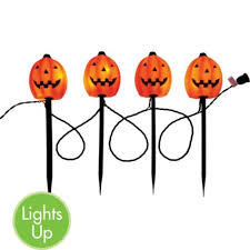 Halloween Pathway Lights Stakes by Light Up Pumpkin Garden Stakes 4 1 2ft Long 4ct Party Citythis