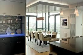esszimmer gestalten abgehängte decke teppich küche led