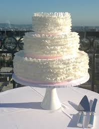 Simple Sweet Ruffled Wedding Cake