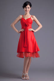 wholesale fairytale a line straps knee length satin bridesmaid dress