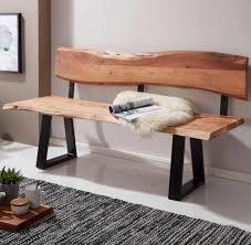 finebuy esszimmerbank 160x85 5x60 cm akazie massivholz bank mit baumkante sitzbank holzbank mit lehne küchenbank essbank holz landhausstil